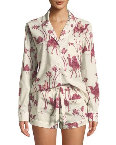 Camel-Print Classic Pajama Set