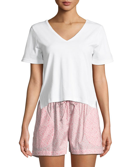 P Jamas V-Neck Short-Sleeve Lounge Tee and Matching