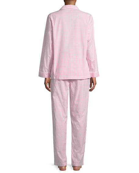 Checks Poplin Long-Sleeve Pajama Set, White/Pink