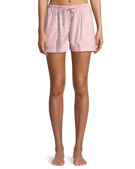 P JAMAS Floral-Print Lounge Shorts in Light Pink