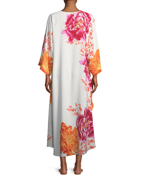 Bali Floral-Print Long Caftan