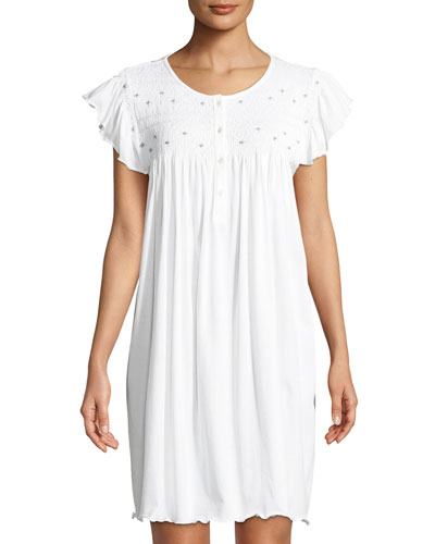 Marta Cap-Sleeve Smocked Nightgown