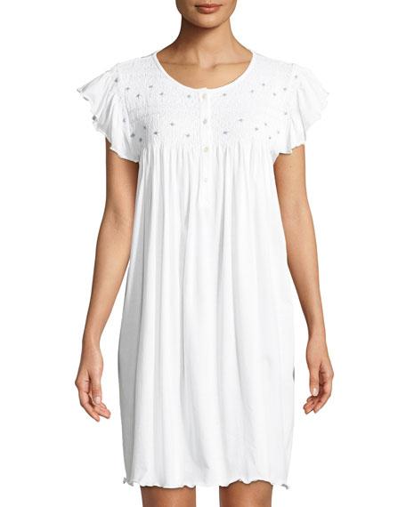 Marta Cap-Sleeve Smocked Nightgown