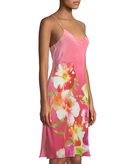 Paradis Floral Silk Nightgown