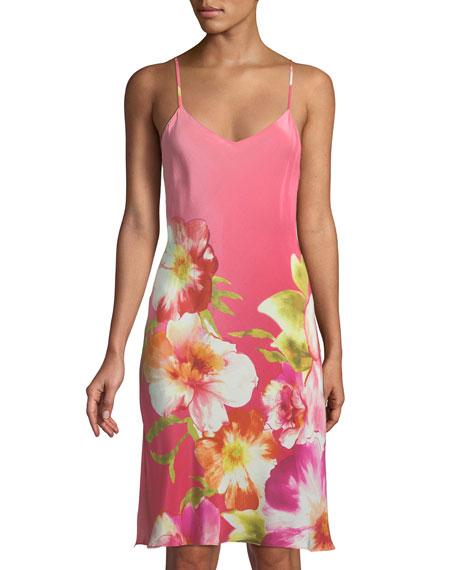 Josie Natori Paradis Floral Silk Nightgown