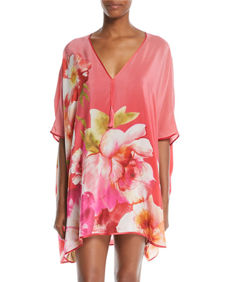 Josie Natori Paradis Floral-Print Silk Short Caftan