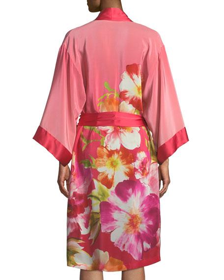 Paradis Floral-Print Silk Short Robe