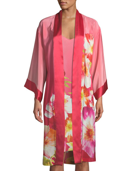 Josie Natori Paradis Floral Silk Nightgown and Matching