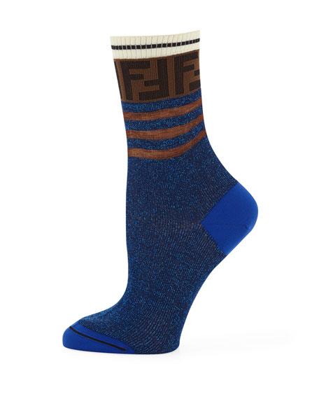 Novelty Striped Metallic Cotton Tube Socks
