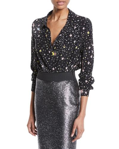 Star-Print Long-Sleeve Bodysuit