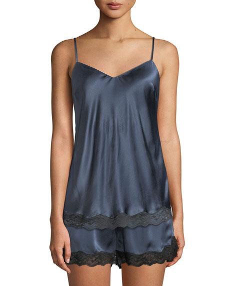 Neiman Marcus Lace-Trim Silk Camisole