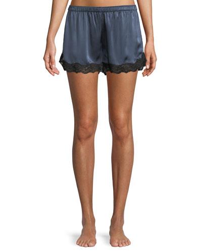 Lace-Trim Silk Lounge Shorts