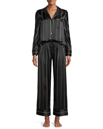 Pinstripe Two-Piece Pinstripe Silk Pajama Set
