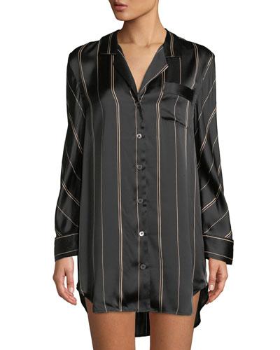Pinstriped Silk Sleepshirt