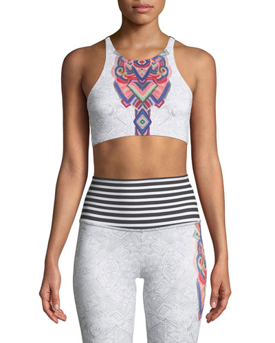 High-Neck Elastic Graphic Low-Impact Sports Bra