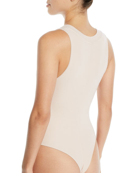 Ribbed Plunge-Neck High-Leg Bodysuit