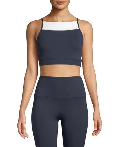 high-neck colorblock sports bra