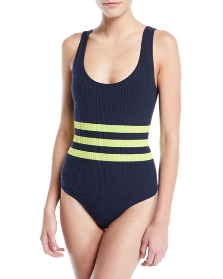 Striped Ribbed Sleeveless Bodysuit