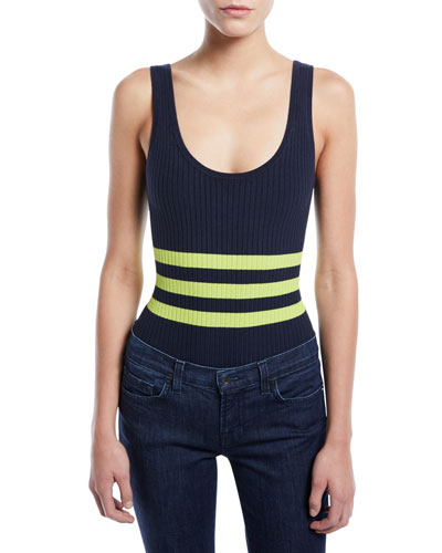 Striped Ribbed Sleeveless Bodysuit