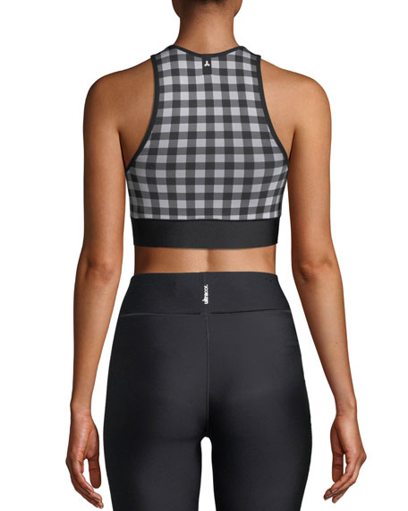 Altitude Cherry Checked Performance Crop Bra Top