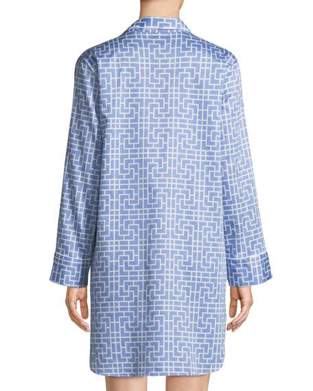 Abstract Maze-Print Cotton Sleepshirt