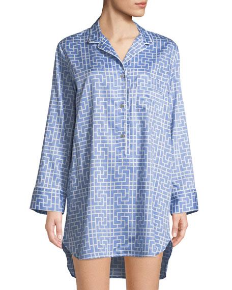 Natori Abstract Maze-Print Cotton Sleepshirt
