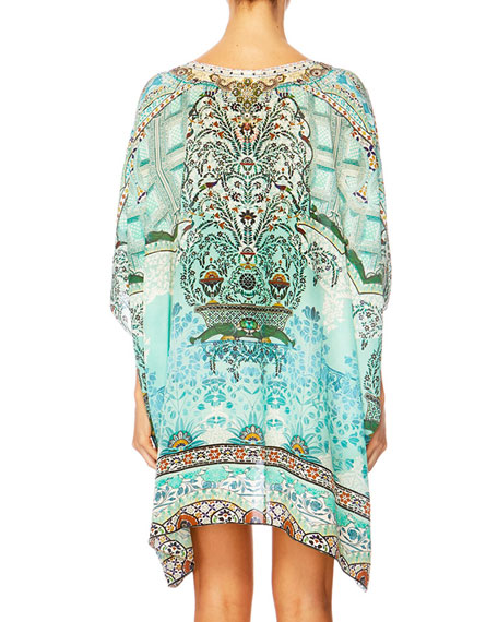 The Long Way Home Printed Embellished Caftan Coverup