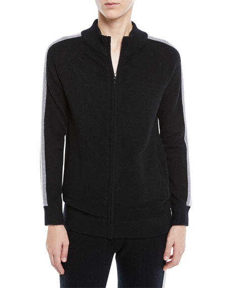 Neiman Marcus Cashmere Collection Luxury Cashmere Zip-Front Track