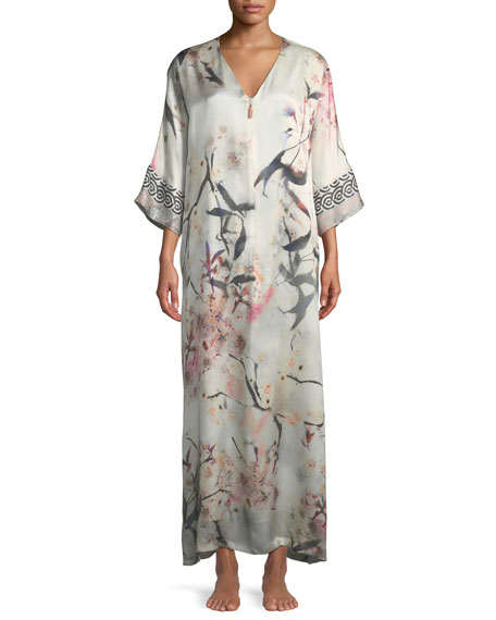 Christine Designs Nightingale Lined Zip-Front Silk Caftan