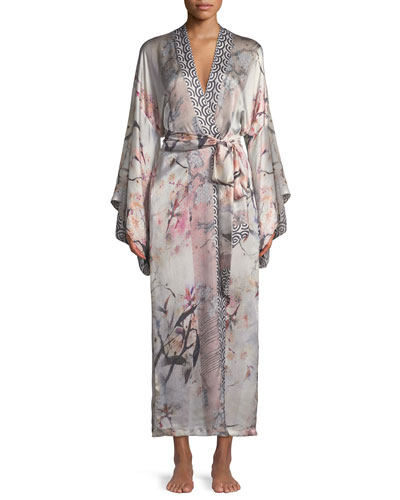 Nightingale Long Floral-Print Silk Robe