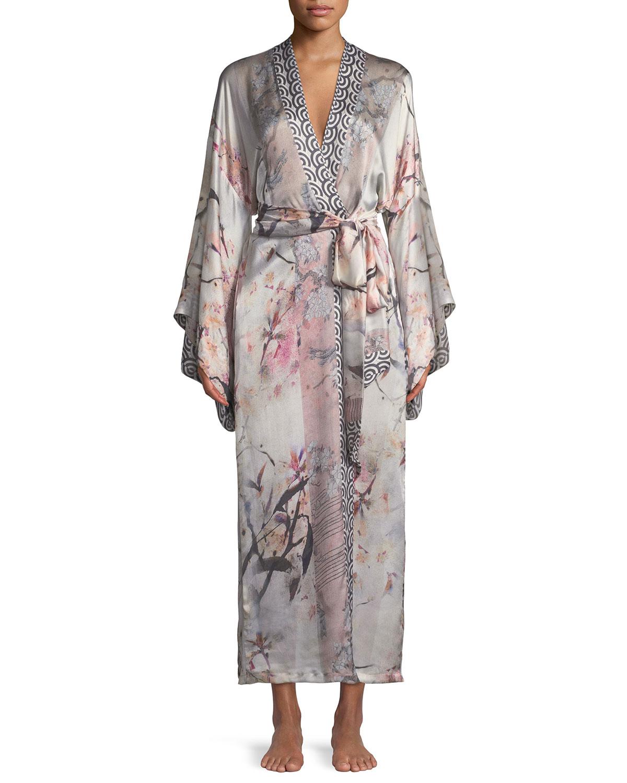 14fa99cdd1 Christine Designs Nightingale Long Floral-Print Silk Robe