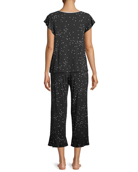 confetti-dot cropped pajama set
