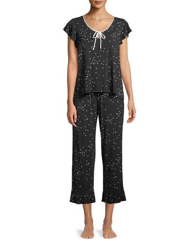 confetti-dot cropped pajama set