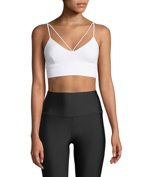 Alo Yoga Glisten V-Neck Strappy Sports Bra