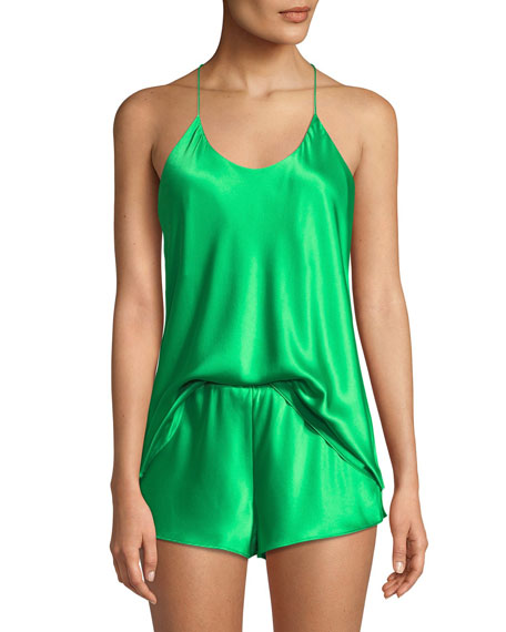 OLIVIA VON HALLE Bella Apple Camisole Shorty Pajama Set in Green