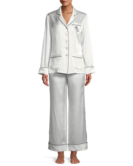 Olivia Von Halle Coco Sakura Classic Silk Pajama Set