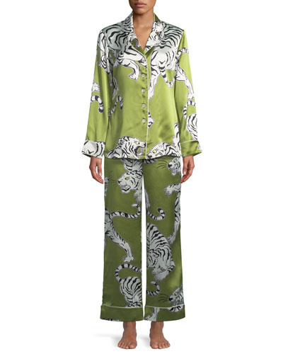 Lila Rola Screen-Print Silk Classic Pajama Set