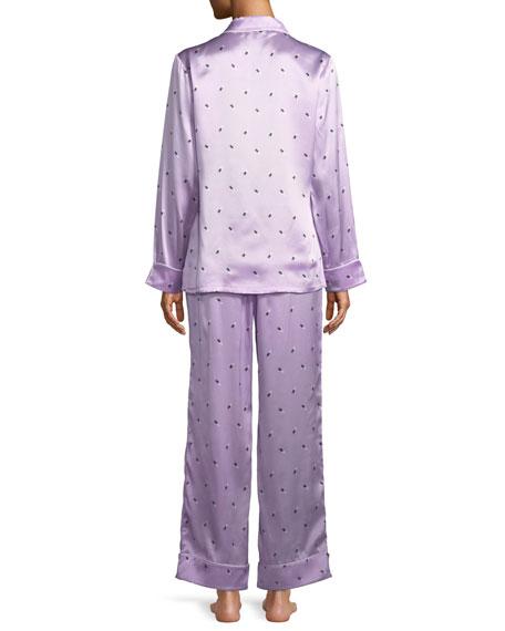 Lila Akimoto Dot-Print Classic Silk Pajama Set