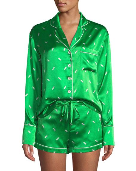 Olivia Von Halle Alba Aya Long-Sleeve Shorty Pajama