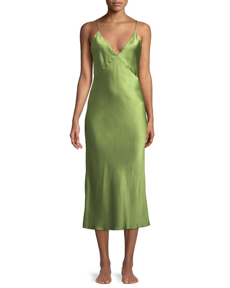 OLIVIA VON HALLE Issa Sleeveless Silk Nightgown in Green