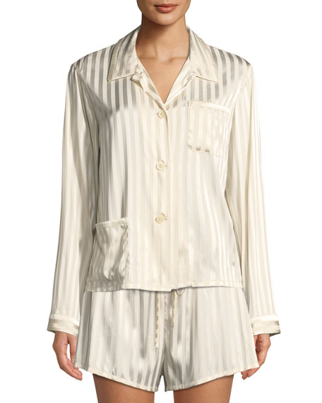 Morgan Lane RUTHIE MARLE-STRIPED PAJAMA TOP