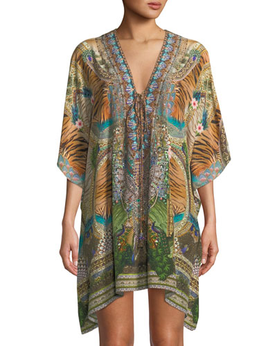 The Long Way Home Lace-Up Printed Silk Kaftan, One Size