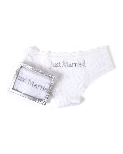 Just Married Lace Cheeky Hipster Briefs