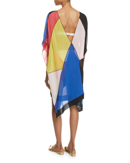 Silk Colorblock Caftan Coverup
