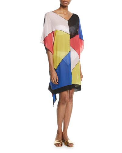 Silk Colorblock Caftan Coverup