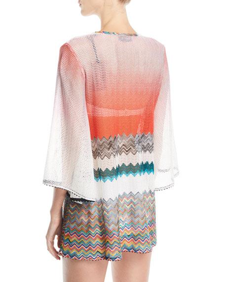 Zigzag Lace-Up Short Caftan