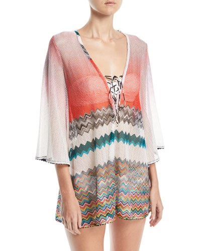 Zigzag Lace-Up Short Caftan