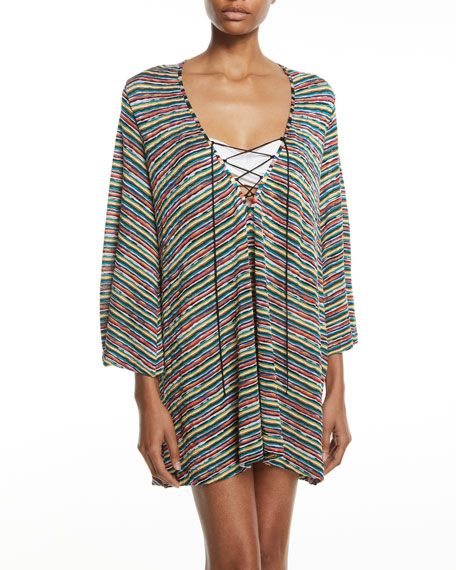 Striped Lace-Up Caftan Coverup