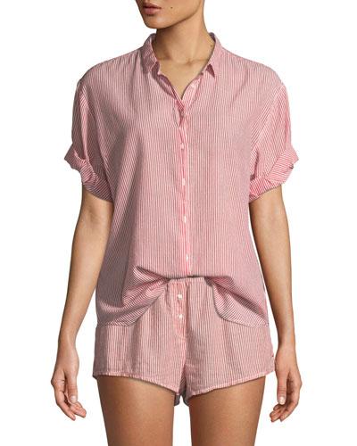 Channing Striped Short-Sleeve Cotton Lounge Shirt