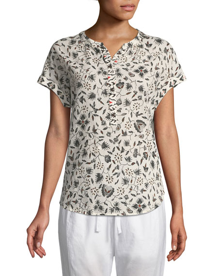 Trina Floral-Print Lounge Top